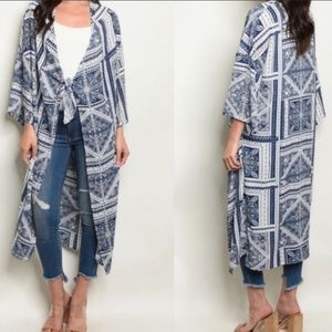 Patterned Long Front Tie Kimono